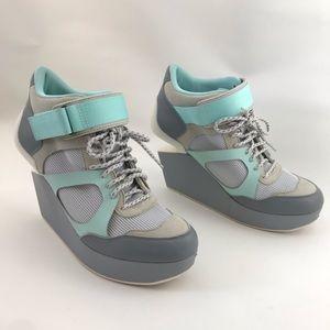 McQ X PUMA platform wedge suede sneakers grey mint